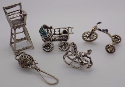 5 x Vintage Solid Silver Italian Made Miniatures, Figurines, Job Lot, Stamped