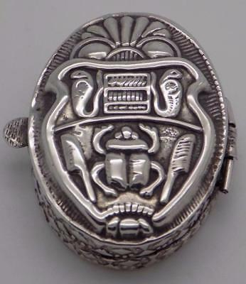 Vintage Sterling Silver 925 Pill / Snuff Mexican (?) Aztec Box, Stamped, RARE