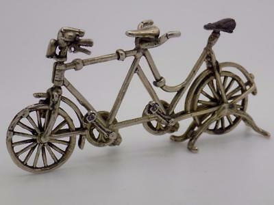 Vintage Solid Silver Italian Made LARGE Tandem Miniature, Figurine, Stamped