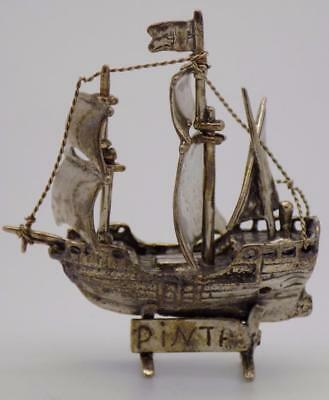 Vintage Solid Silver Italian Made Columbus Pinta Ship Miniature, Figurine, Stamp