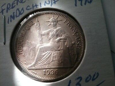 1936 - French Indochina 50 Cent., 90% Silver Coin, Ungraded, Circulated