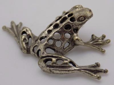 Vintage Solid Silver Italian Made Frog Miniature, Figurine, Stamped