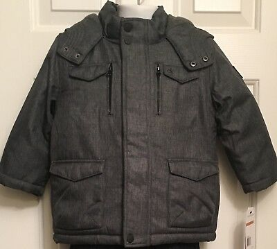 $110 New Calvin Klein Jeans Boys Winter Hooded Coat Jacket Charcoal Grey Size 3T