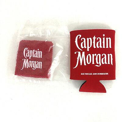 New Captain Morgan Wrist Sweat Band and Coozie Beer Holder.