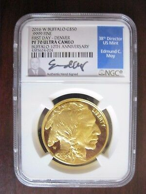2016 W, MOY, $50 Gold Buffalo, PF70 UC, FIRST DAY--DENVER, NGC