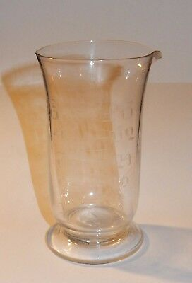 Vintage / antique hand-made etched glass apothecary's measure, EC