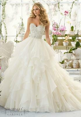 New White Ivory Appliques Beads Tiered Wedding Dress 2 4 6 8 10 12 14 16 18 A5T3