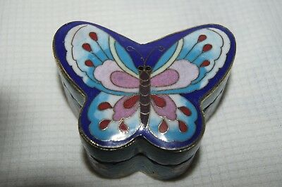 Very Nice Chinese Cloisonne Enamel Butterfly Trinket Box With Cherry Blossoms