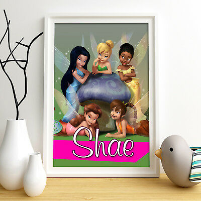 DISNEY FAIRIES Personalised Poster A4 Print Wall Art Custom Name✔ Fast Delivery✔