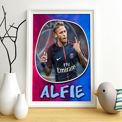 NEYMAR PSG Personalised Poster A4 Print Wall Art Custom Name ✔ Fast Delivery ✔