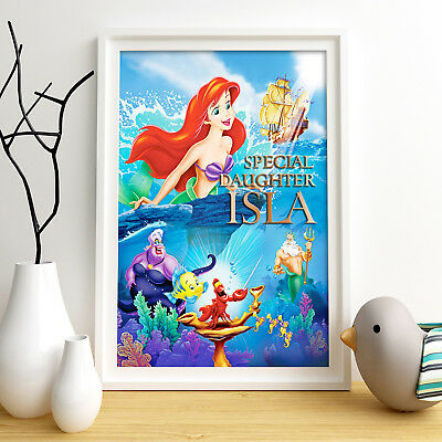 LITTLE MERMAID ARIEL Personalised Poster A4 Print Wall Art Fast Delivery ✔