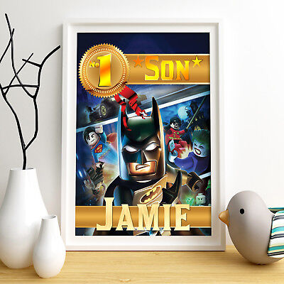BATMAN LEGO Personalised Poster A4 Print Wall Art Custom Name ✔ Fast Delivery ✔