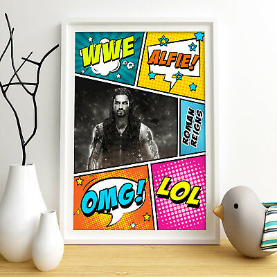 ROMAN REIGNS Personalised Poster A4 Print Wall Art Custom Name ✔ Fast Delivery ✔