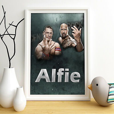 WWE Cena Rock Personalised Poster A4 Print Wall Art Custom Name✔ Fast Delivery✔