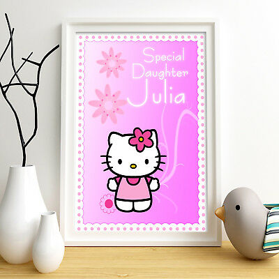 Hello Kitty Personalised Poster A4 Print Wall Art Custom Name ✔ Fast Delivery ✔