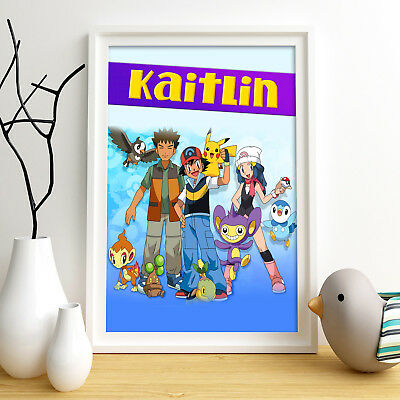 POKEMON Personalised Poster A4 Print Wall Art Custom Name ✔ Fast Delivery ✔