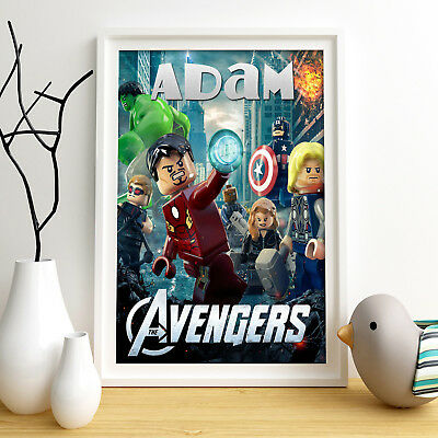 AVENGERS LEGO Personalised Poster A4 Print Wall Art Custom Name✔ Fast Delivery ✔