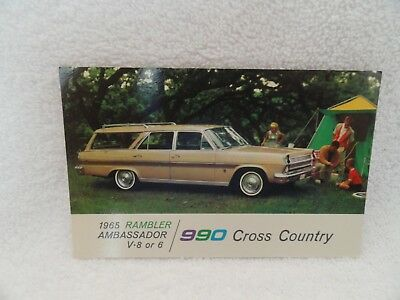 1965 Rambler Ambassador 990 Wagon New Car Dealer Promotional Postcard