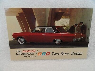 1965 Rambler Ambassador 880 2Dr New Car Dealer Promotional Postcard
