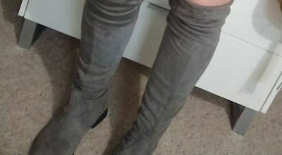 over the knee high grey boots