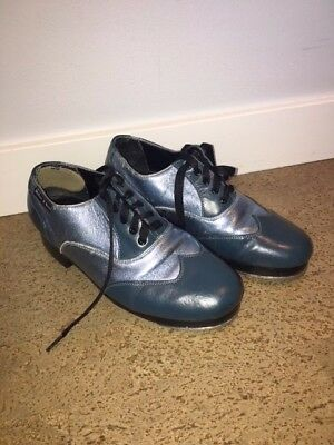 Miller And Ben Custom Tap Shoes: Used Metallic Blue and Dark Blue Size 37.0