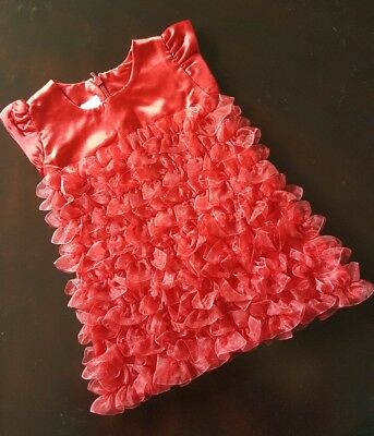 Baby Girl Rufflebutts Size 12 Months Red Ruffle Dress Christmas Holiday