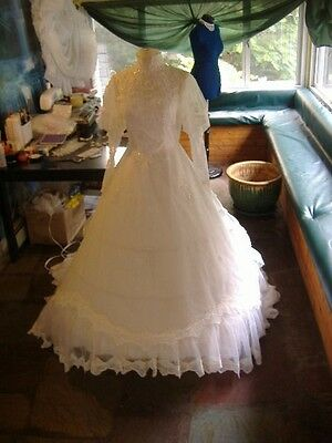 Chiffon and Lace Princes Style Wedding Gown - Size M