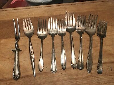 Nice Lot Of Vintage Silverplate Meat Forks...lqqk!
