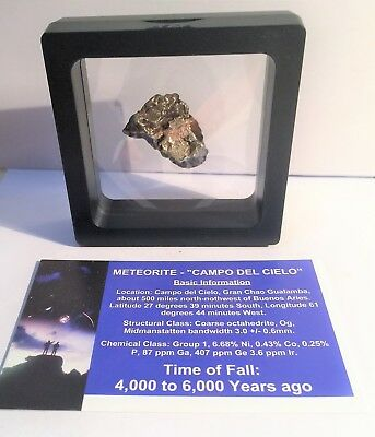 """""""RARE"""" 22.4 Gram Meteorite """"Campo Del Cielo"""" Museum Quality with stand and Cert"""