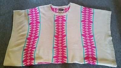 Beige and hot pink warm woolen jumper
