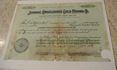 1908 Johnnie Consolidated Gold Mining Co Stock Certificate Nevada Death Valley