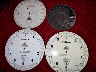 4 vintage SALTER Scale face PLATES 2 brass 2 metal 30lb 200lb 20lb weight parts