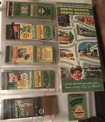 (6) Cities Service Gas Oil Matchbooks And Road Map - Can Sign Pump