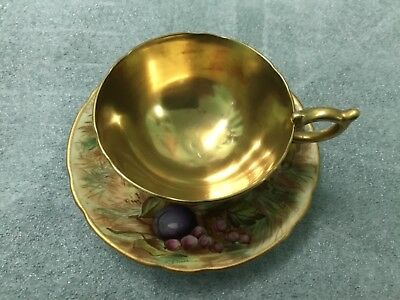 Vintage Aynsley Gold & Orchard Fruits D.Jones Bone China Cup and Saucer Antique