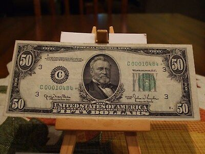 1950 $50 Fr Star Note, Great  Color,philadelphia, Pa District,great Eye Appeal