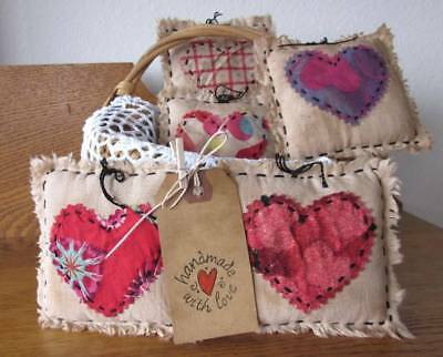 5 Heart Tucks all hand sewn and grungy...Tuck, Shelf Art or Bowl Filler   Set #6