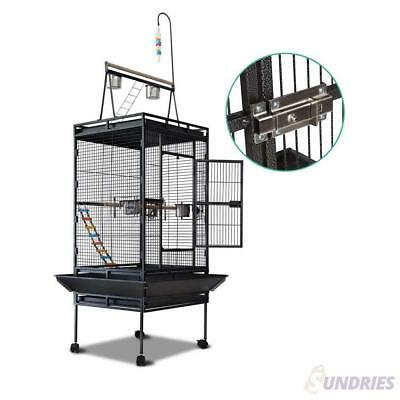 Large 173cm Bird Cage Parrot Aviary Pet Stand-alone Budgie Perch Castor Wheels