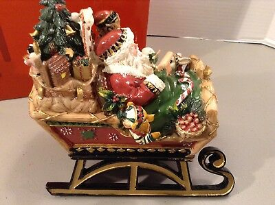 Fitz & Floyd Holiday Musicals Christmas Lodge Sleigh Music Box 19-115