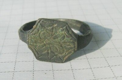 Ancient Medieval Bronze Ring  17-18 Century