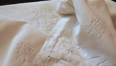 Rare French Vintage Linen Sheet and 2 Cases /Large Size / Exceptional Embroidery