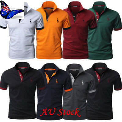 AU Mens Summer Short/Long Sleeve Shirt Casual Solid Polo T- Shirts Slim Fit Top