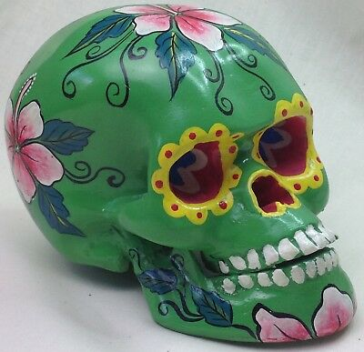 Sugar Skull Day of  Dead green hand painted skull statue figurine collectable