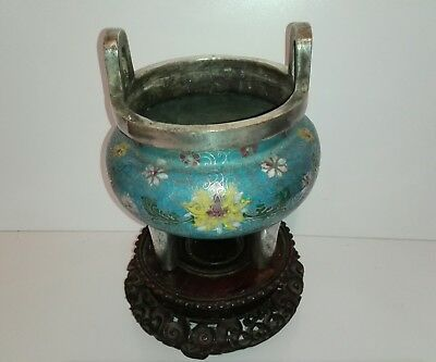 Antique Chinese cloisonne censor