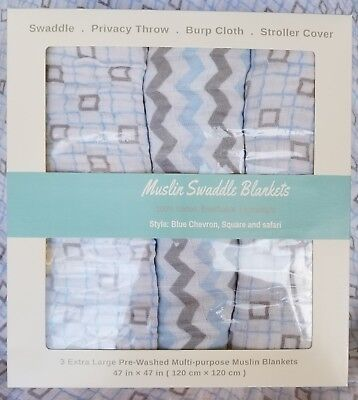 Muslin Swaddle Blanket - Extra Large - 100% Cotton - 3 Per Box - Blue