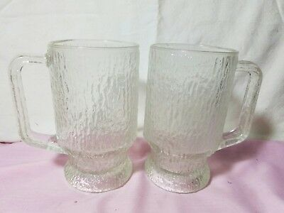 Set Of 2 Indiana Glass CRYSTAL ICE Cup Mug Tree Bark Footed Textured Beer Stein