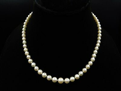 Vintage Diamond and Natural Saltwater Pearl 9ct White Gold Necklace with Diamond