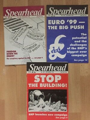 3 X Spearhead Mags No 355 356 358 BNP national Front NF British National Party