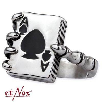 """Poker Ring Pik Ass 925 Sterling Silber /""""Ace of Spades/"""" Silberring R8011"""