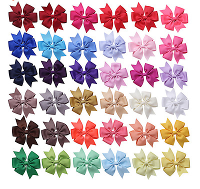 20pcs/set Hair Bows With Clip 3 inch Grosgrain Ribbon Hairpins For Kids Girl