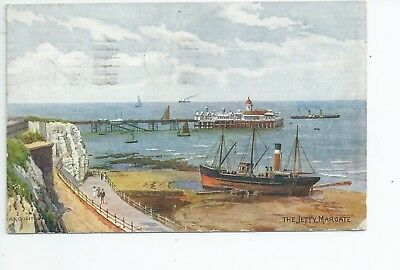 Printed AR QUINTON Postcard of the jetty Margate in good condition. number 1826